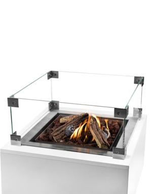 Cocoon Table Inbouwbrander Vierkant Groot Met Vuur